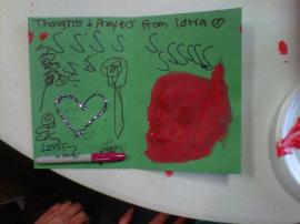 One of the many cards clients and staff in the adult day program made for those at Sandy Hook Elementary in Newtown CT.